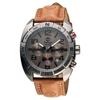 Timberland Oakwell 探險王計時腕錶 鐵灰x咖啡 44mm TBL.13670JSU/61