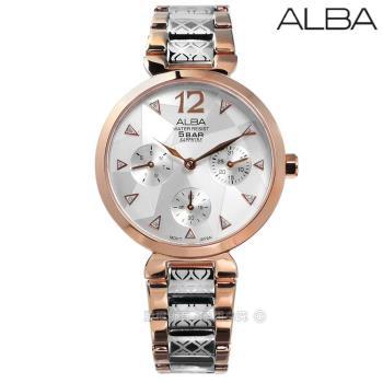 ALBA / VD75-X110K.AP6556X1 / 施華洛世奇日期星期藍寶石水晶玻璃不鏽鋼手錶 銀x鍍玫瑰金 33mm