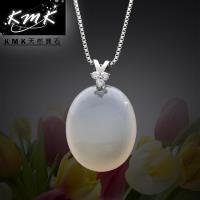 KMK天然寶石~鵝蛋形~ 天然白玉髓~項鍊