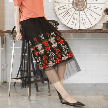 A1 Darin  名品風玫瑰刺繡網紗裙
