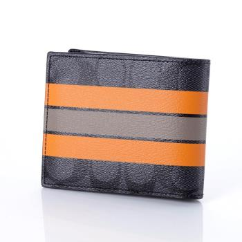 COACH C LOGO PVC 線條造型雙折男用皮夾 (附活動名片證件夾) 黑灰色