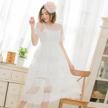 【lingling】睫毛蕾絲長洋裝+細肩連身小可愛(浪漫白)A3385-01