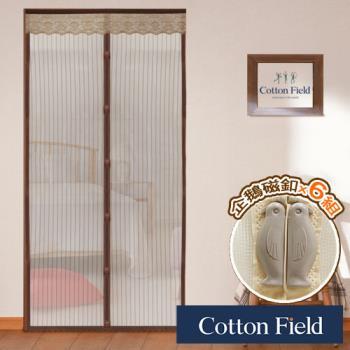 棉花田 雙磁-加強版 6段式免穿磁條超細網防蚊門簾-咖啡色-二件組