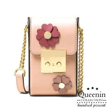 DF Queenin日韓 - 韓版氣質小花仿皮款隨身小方包-共2色