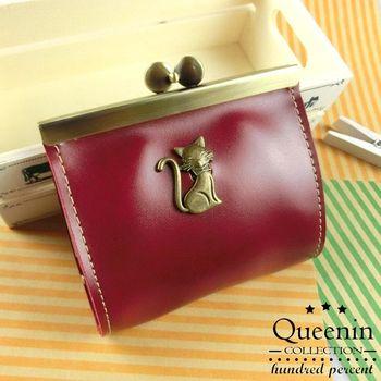 DF Queenin皮夾 - 復古古銅系貓貓仿皮款零錢包-共3色