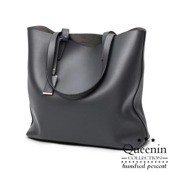 DF Queenin日韓 - 時尚大作系列仿皮款肩背拖特包-共3色