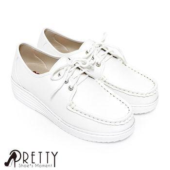 Pretty 綁帶厚底白色學生鞋/護士鞋-白色
