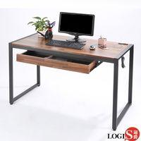 LOGIS  耐磨PVC防潑水工業風桌面附插座工作桌辦公桌 電腦桌 餐桌(長128x寬60x高77公分)【MK-128】