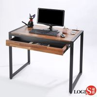 LOGIS  耐磨工業風桌面附插座工作桌辦公桌 電腦桌 餐桌(長98寬60x高77公分)【MK-98】