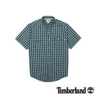 Timberland 男款藍綠格子Coolmax休閒短袖襯衫