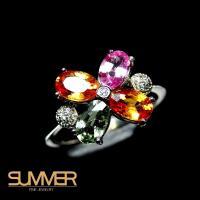 【SUMMER寶石】設計款彩色藍寶戒指(925銀 A15)
