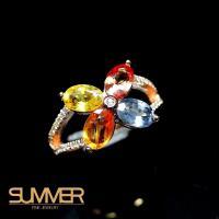 【SUMMER寶石】設計款彩色藍寶戒指(925銀 A17)