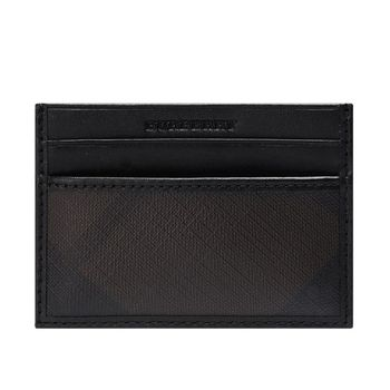 BURBERRY 經典格紋PVC皮革飾邊證件卡套/卡夾(咖啡X黑)