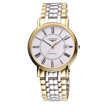 LONGINES Presence 經典羅馬機械腕錶 半金 38.5mm L49212117