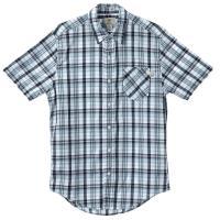 Timberland 男款寶藍色格紋修身短袖襯衫