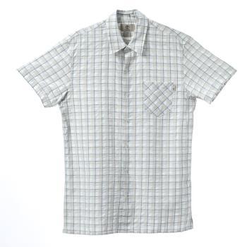 Timberland 男款風鈴白正方格紋休閒短袖襯衫