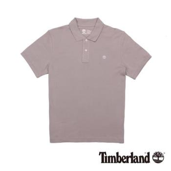 Timberland 男款淺灰褐色純棉透氣短袖Polo衫