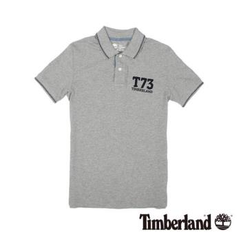 Timberland 男款灰色純棉透氣修身短袖Polo衫