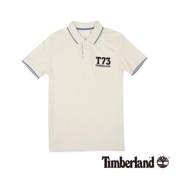 Timberland 男款米白色純棉透氣修身短袖Polo衫