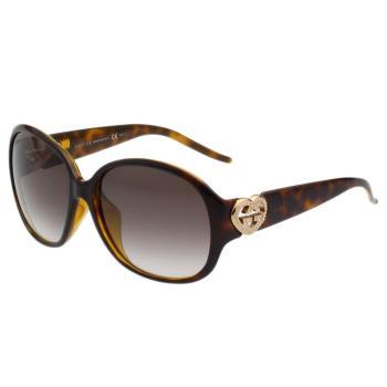 GUCCI-時尚閃亮亮愛心水鑽LOGO太陽眼鏡(琥珀色)