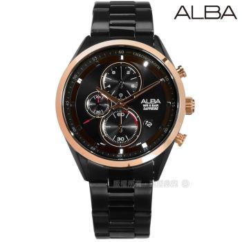 ALBA / VD57-X106SD.AM3459X1 / 日期顯示三眼計時藍寶石水晶玻璃防水不鏽鋼手錶 黑x玫瑰金框 43mm