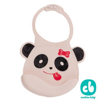 Creative Baby 創寶貝- 可收納式攜帶防水無毒矽膠學習圍兜-可愛熊貓(Silicone Bids)