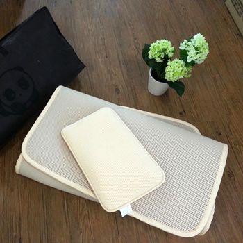 3D蜂巢透氣幼童午休床墊+枕頭組(150x75x1.5cm)