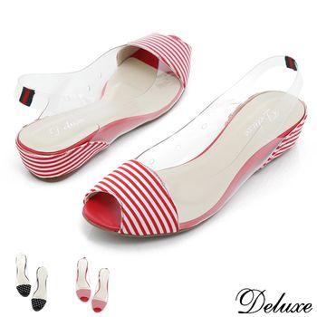 【Deluxe】涼夏可愛風果凍後勾式魚口小坡跟涼鞋(紅-黑)