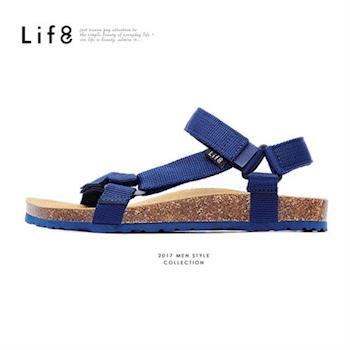Life8-Casual 織帶 牛皮墊 可調式記憶涼拖鞋-09625-藍色