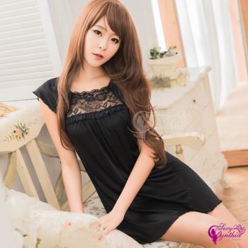 【Sexy Cynthia】性感睡衣 典雅黑色小蓋袖柔緞性感睡衣