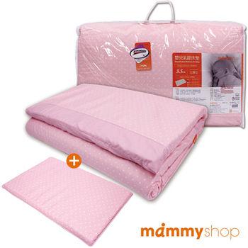 媽咪小站-嬰兒乳膠加厚小床墊+多功能平枕(圓點粉)