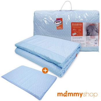 媽咪小站-嬰兒乳膠加厚小床墊+多功能平枕(圓點藍)