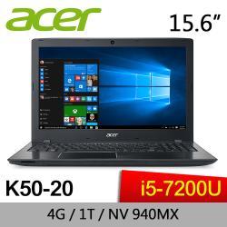 結帳現折1000元加碼送1000折扣金ACER 宏碁 K50-20-528R 15吋筆電 Intel  i5-7200U/940MX2G獨顯/ 1TB