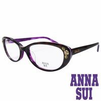 ANNA SUI 日本安娜蘇 金屬時尚水鑽薔薇造型眼鏡(琥珀+紫)AS622-152