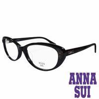 ANNA SUI 日本安娜蘇 金屬時尚水鑽薔薇造型眼鏡(黑)AS622-001