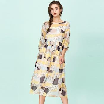 【最水】歐美時尚印花雪紡洋裝
