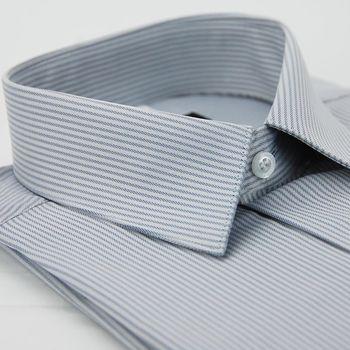 【金安德森】灰色易整燙暗紋涼感窄版短袖襯衫