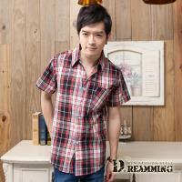 【Dreamming】格紋學院氣質純棉短袖休閒襯衫(紅色)