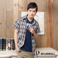 【Dreamming】格紋學院氣質純棉短袖休閒襯衫(橘藍)