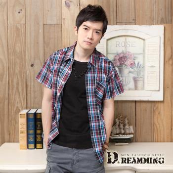 【Dreammimg】格紋學院氣質純棉短袖休閒襯衫(紅藍)