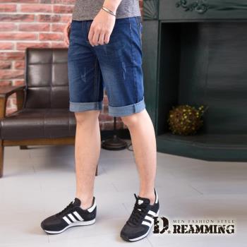 【Dreamming】韓系質感菱形皮標伸縮牛仔短褲(藍色)