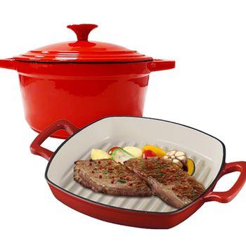 【琺瑯鑄鐵鍋】28cm厚釡鑄鐵牛排煎鍋+21cm牛奶鑄鐵鍋