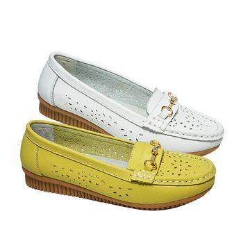 母子鱷魚真皮休閒淑女鞋