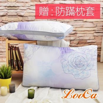 LooCa 薔薇天絲蠶絲60顆獨立筒枕(2入)