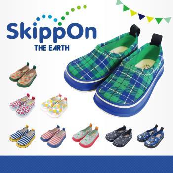 【日本SkippOn】兒童休閒機能鞋〈百搭綠格紋〉