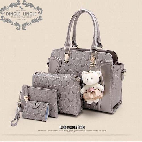 丁果時尚 - 貴氣小熊四件套斜背包中包(1大包3小包)*7色