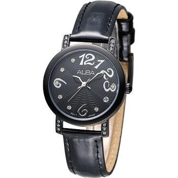 ALBA 天使心鑽甜美淑女腕錶-黑/黑框(AG8443X1)