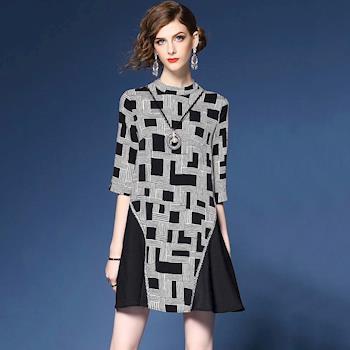 最水-藝術格子立領七分袖洋裝