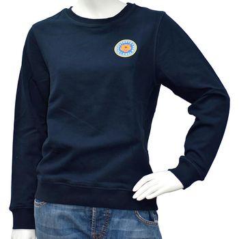 KENZO 品牌圓型老虎印花貼布厚版純棉長袖圓領衫(海軍藍)