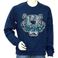 KENZO 老虎蛇紋刺繡印花綠字厚版純棉長袖圓領衫(深藍)